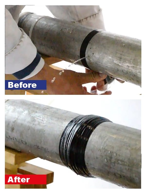 Wrap & Seal Pipe Burst Tape used to repair a live leak on a steel pipe