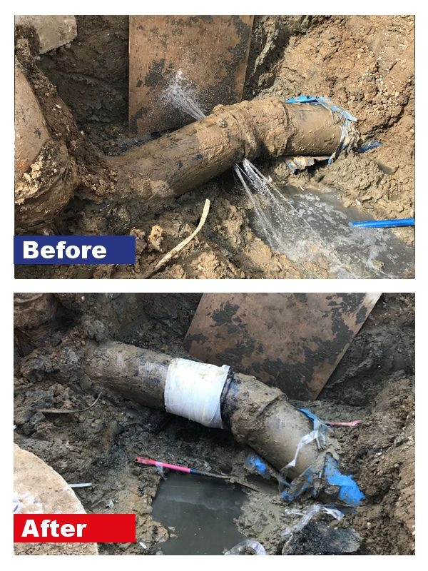 Pipe repair at a sewage plant carried out by the SylWrap Pipe Repair Contractor Case