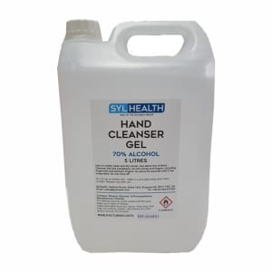 SylHealth 70% Alcohol Hand Sanitiser Gel kills 70% of germs and bacteria with the 5 litre bottle offering a longer-lasting supply for households, shops and businesses