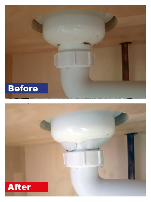 A leaking PVC pipe fixed using Superfast Plastic Epoxy Putty Stick
