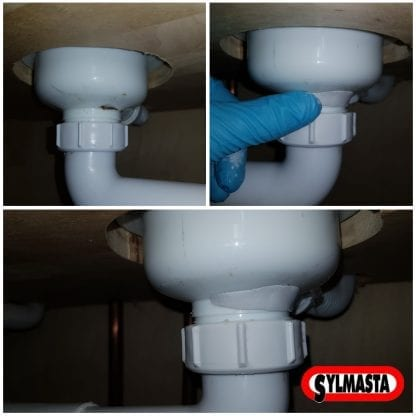 A cracked PVC plastic pipe in a bathroom is repaired using Superfast Plastic Epoxy Putty Stick