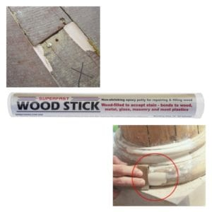 Superfast Wood Stick for non-shrinking, fast-setting repairs to wood that will not rot