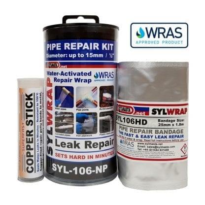 SylWrap Pipe Repair Kits contain all the equipment needed to fix a leaking pipe where water flow cannot be turned off