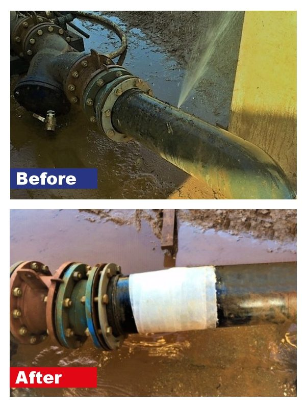 SylWrap Universal Pipe Repair kit having carried out a live repair on a leaking pipe at a wash plant