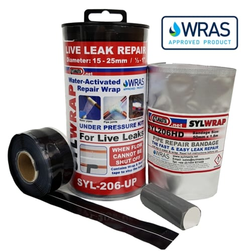 SylWrap Universal Pipe Repair Kit repairs live leaks on pipes even when pressure cannot be isolated