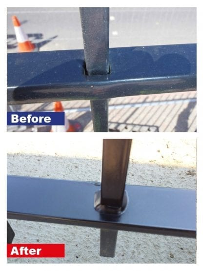 Metal railings repair carried out using Sylmasta AB long-working epoxy putty