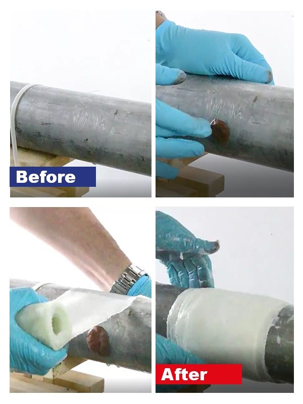 Repair to a leaking stainless steel pipe carried out by the SylWrap Standard Pipe Repair Kit