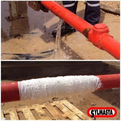 A steel pipe with a longitudinal split repaired using a SylWrap HD Composite Pipe Repair Bandage