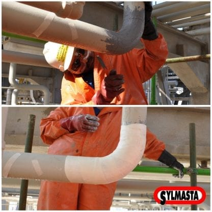 Repairsbeing made to a sulphuric acid line using a SylWrap HD Pipe Repair Bandage which strengthens and protects pipework