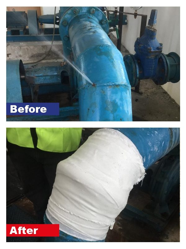 A leaking pipe repair carried out with the equipment contained in a SylWrap Pipe Repair Contractor Case