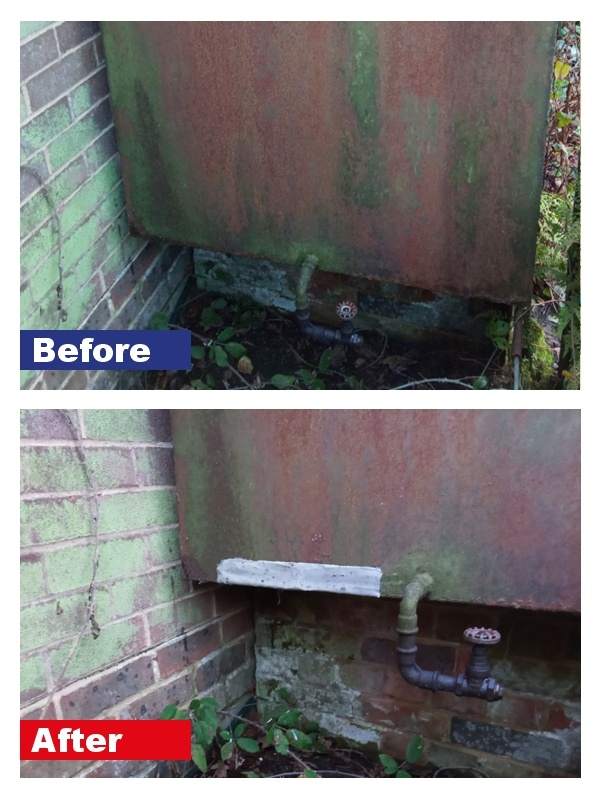 Patch repair carried out to a corroding oil tank using the equipment in a Sylmasta Fibreglass Repair Kit