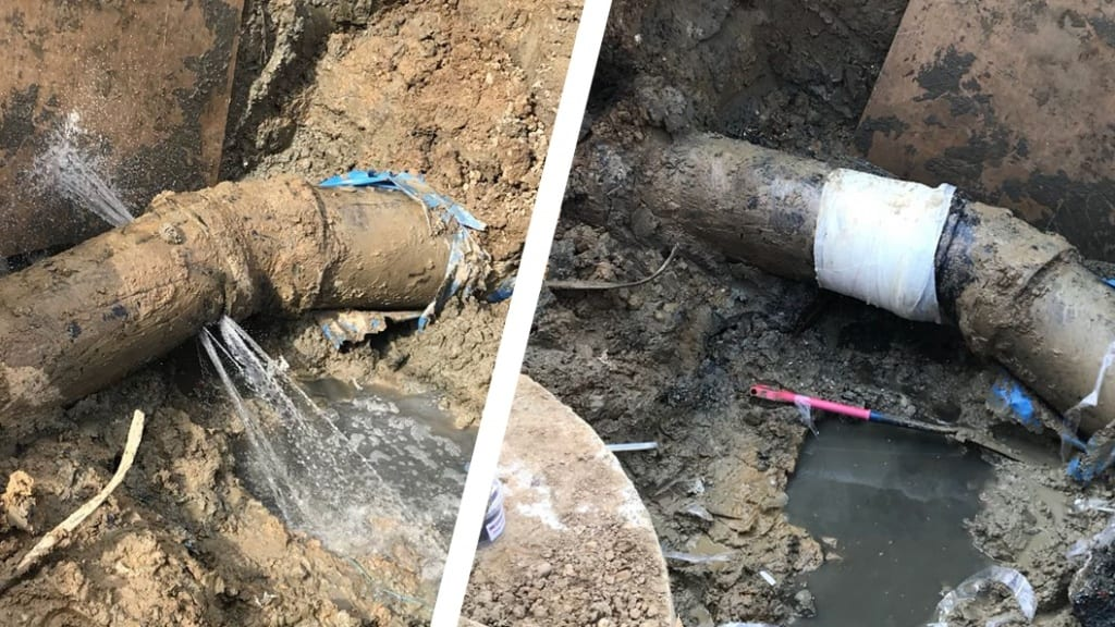 A Waste Water Works Pipe Repair carried out after a live pipe was cut through by contractors at a site in the United Kingdom