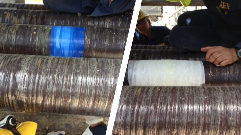 A contaminated water pipe repair carried out in a Power Plant in Puerto Rico using Sylmasta products