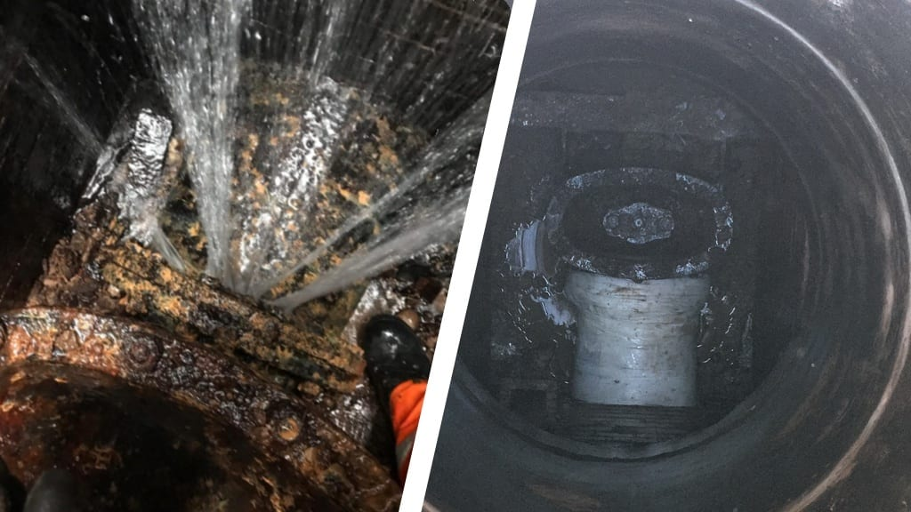 A live repair carried out on a water main which had been leaking for the previous 15 years