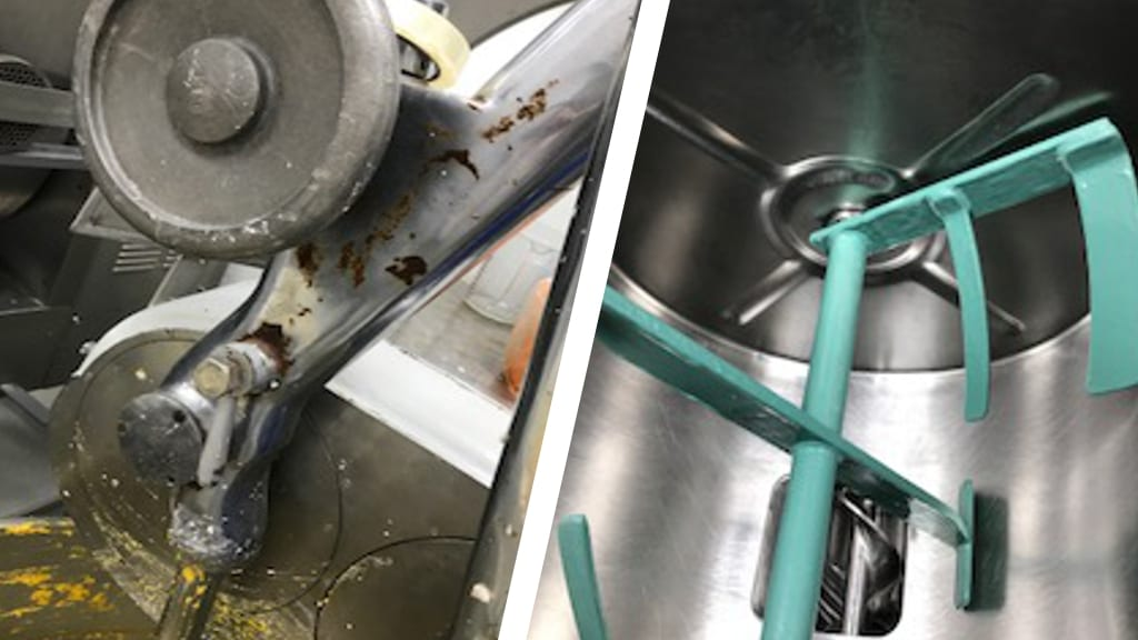Metal blades in a bakery flour mixer were suffering from corrosion until Sylmasta Ceramic Brushable Green provided a repair