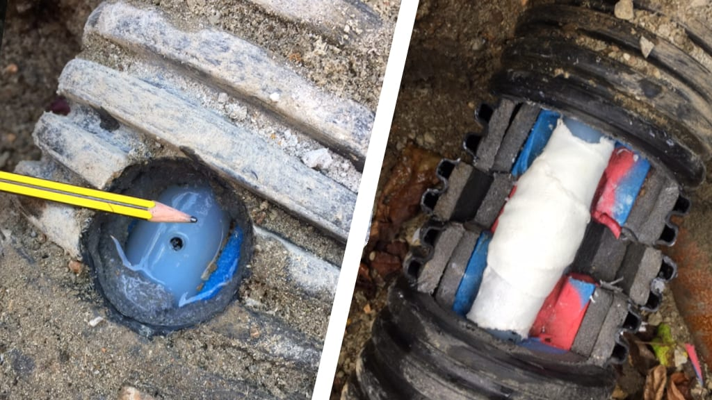 Repair of a leaking hot water pipe on a farm carried out using a SylWrap Universal Pipe Repair Kit