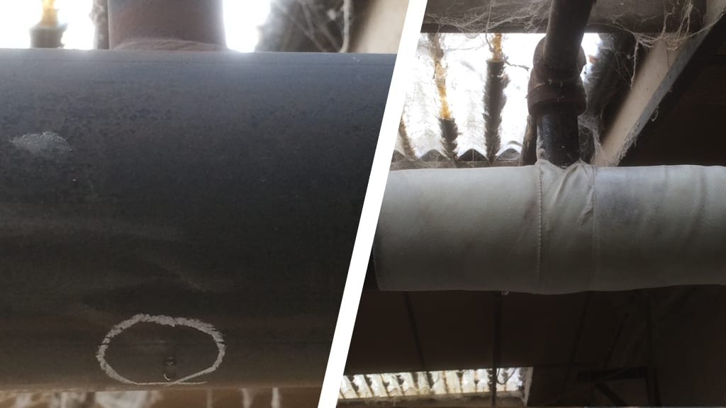 The repair of a leaking pipe in a sprinkler system at a British furniture company's workshop carried out using a SylWrap Standard Pipe Repair Kit