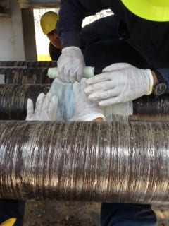 SylWrap HD Pipe Repaor Bandage is applied as part of a leaking steel contaminated water pipe repair in a Puerto Rico Power Station