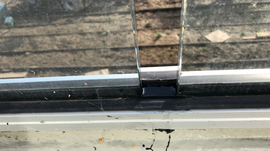 Liquid Rubber used as a filler for a 25mm expansion joint between glass panels on a roof terrace at a residential property in Essex