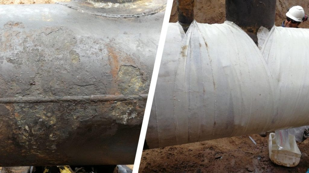 A 900mm steel pipe in an oil well in Argentina was badly corroded and leaking before Sylmasta carried out a repair