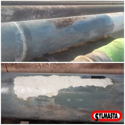 Surface repair carried out to a corroded pipe using Sylmasta AB Long Working Epoxy Putty